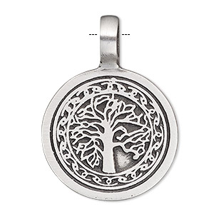 pendant, antiqued pewter (tin-based alloy), 39x28mm single-sided flat round with tree design. sold individually.