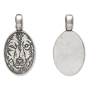 pendant, antiqued pewter (tin-based alloy), 40x21mm oval with wolf head. sold individually.