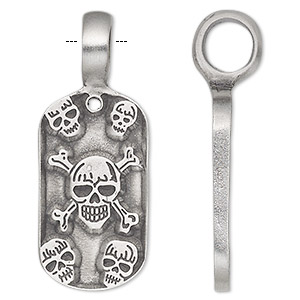 pendant, antiqued pewter (tin-based alloy), 41x16mm single-sided rounded rectangle with skull and cross bones. sold individually.