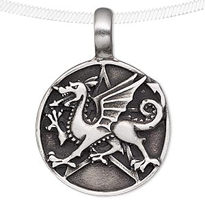 pendant, antiqued pewter (tin-based alloy), 46x33mm round with dragon and star design. sold individually.
