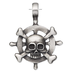 pendant, antiqued pewter (tin-based alloy), 46x36mm single-sided pilots wheel with skull and crossbones. sold individually.