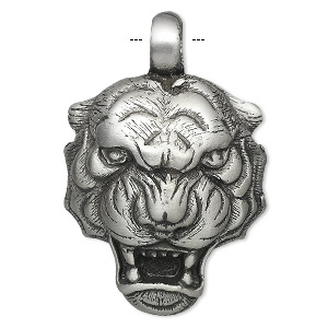 pendant, antiqued pewter (tin-based alloy), 48x31mm tiger head. sold individually.