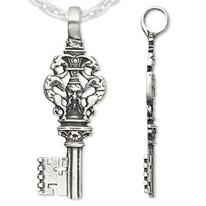 pendant, antiqued pewter (tin-based alloy), 63x23mm key. sold individually.