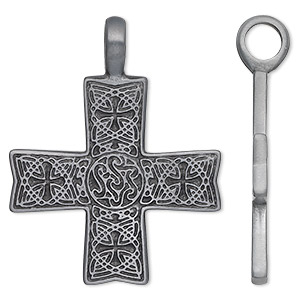 pendant, antiqued pewter (zinc-based alloy), 46x36mm cross with celtic design. sold individually.