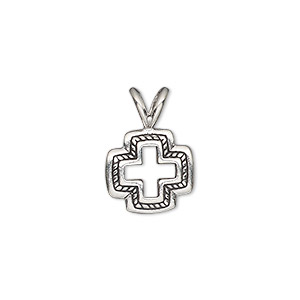 pendant, antiqued sterling silver, 18.5x13mm double-sided open cross. sold individually.