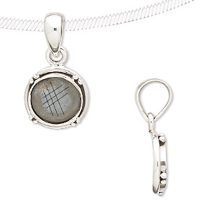 pendant, antiqued sterling silver, 25x13mm with bumpy design and 10mm round bezel setting. sold individually.