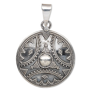 pendant, antiqued sterling silver, 28mm single-sided round. sold individually.