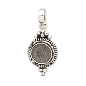 pendant, antiqued sterling silver, 35x15mm with double-spiral design and 10mm round bezel setting. sold individually.