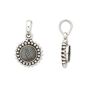 pendant, antiqued sterling silver, 8mm round cabochon mounting. sold individually.