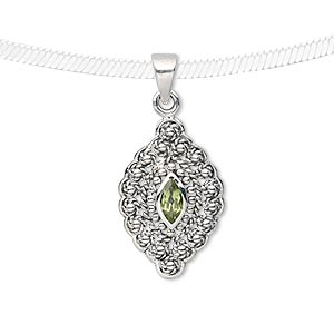 pendant, antiqued sterling silver and peridot (natural), 7x4mm faceted marquise, 21x14mm marquise. sold individually.