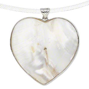 pendant, blister pearl shell (natural) and sterling silver, 46x46mm-49x49mm heart. sold individually.