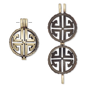 pendant cage, antique brass-finished pewter (zinc-based alloy), 28x21mm round with cutout design, fits up to 17mm bead. sold individually.