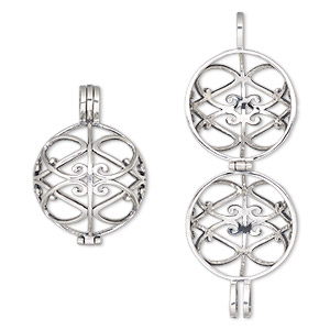 pendant cage, antiqued sterling silver, 34x25mm hinged round with fancy cutout design, fits up to 22mm bead. sold individually.