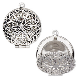 pendant cage, silver-finished brass, 28mm single-sided hinged round with cutout flower. sold individually.