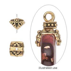 pendant cap, tierracast, antique gold-plated pewter (tin-based alloy), 9x9mm double-sided square with leaves, fits 4.5mm flat-sided bead. sold per pkg of 2.