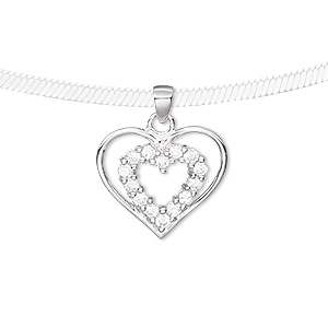 pendant, cubic zirconia and rhodium-plated sterling silver, clear, 17x15mm double heart. sold individually.