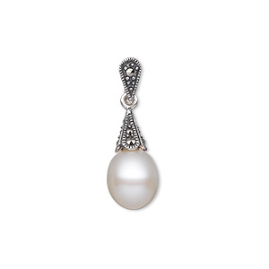 pendant, cultured freshwater pearl (bleached) / marcasite (natural) / antiqued sterling silver, white, 26x8.5mm with 10x8.5mm teardrop and 8x5mm cone. sold individually.
