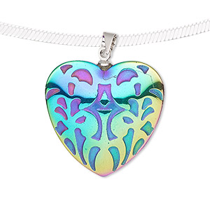 pendant, electroplated hemalyke™ (man-made) and silver-finished brass, rainbow, 25mm two-sided puffed heart with fancy design. sold individually.