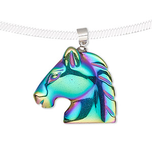pendant, electroplated hemalyke™ (man-made) and silver-finished brass, rainbow, 25x23mm single-sided horse head. sold individually.