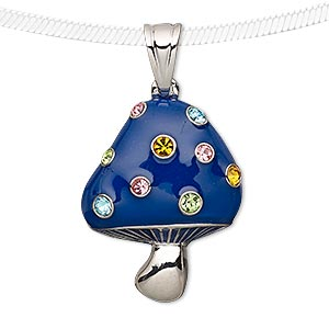 pendant, enamel / preciosa czech glass rhinestone / silver-plated pewter (tin-based alloy), blue and multicolored, 27x22mm mushroom. sold individually.