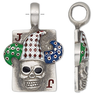 pendant, enamel and antiqued pewter (tin-based alloy), 42x28mm single-sided playing card with joker skull. sold individually.