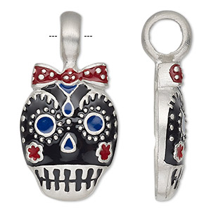 pendant, enamel and antiqued pewter (tin-based alloy) and enamel, red / black / blue, 40x20.5mm single-sided dia de los muertos skull with ribbon. sold individually.