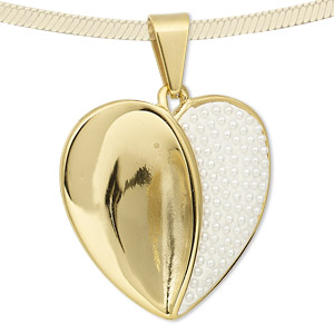 pendant, epoxy / glass pearl / gold-finished stainless steel, white, 35x35mm heart. sold individually.