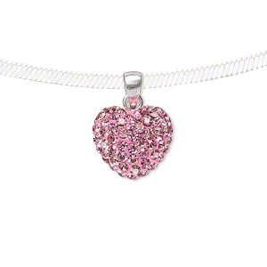 pendant, epoxy / sterling silver / preciosa glass rhinestone, pink, 13.5x12mm double-sided puffed heart. sold individually.