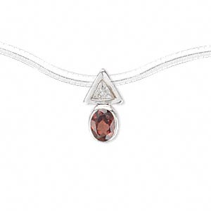 pendant, garnet (natural) / sterling silver / cubic zirconia, clear, 15x8mm with 8x6mm faceted oval and 8x8x8mm faceted triangle with hidden loop. sold individually.