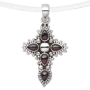 pendant, garnet (natural) and antiqued sterling silver, 34x26mm cross with 6x4mm teardrop. sold individually.