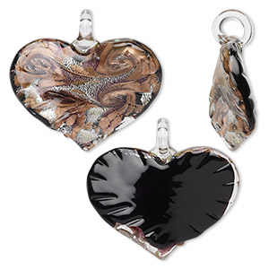 pendant, glass, black and copper, 50x46mm heart. sold individually.