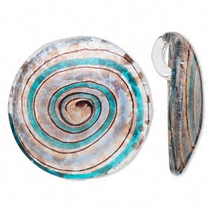 pendant, glass, light and dark blue with gold and copper colored foil, 54mm flat round with swirl. sold individually.