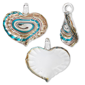 pendant, glass, multicolored with gold-colored foil, 48x48mm heart. sold individually.