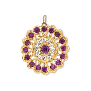 pendant, glass rhinestone and gold-finished pewter (zinc-based alloy), clear and purple, 23mm round. sold individually.