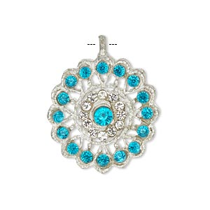 pendant, glass rhinestone and silver-finished pewter (zinc-based alloy), clear and light blue, 23mm round. sold individually.