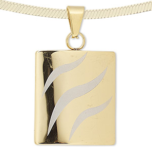 pendant, gold-finished stainless steel, 35x30mm rectangle with matte stripe design. sold individually.
