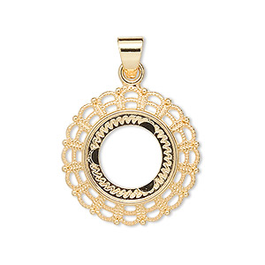 pendant, gold-plated pewter (zinc-based alloy), 23mm fancy round with 14mm round setting. sold per pkg of 4.
