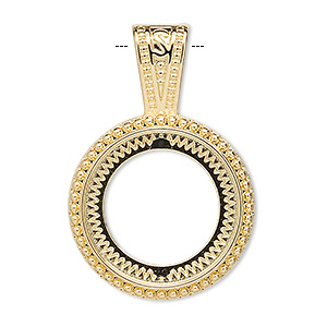 pendant, gold-plated pewter (zinc-based alloy), 37x25mm round with rope design and 20mm round setting. sold per pkg of 4.