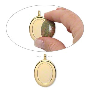 pendant, gold-plated pewter (zinc-based alloy), 40x27mm single-sided oval with 25x18mm oval setting and tube bail. sold individually.