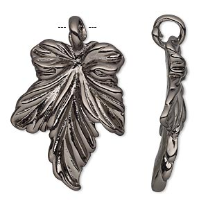 pendant, gunmetal-plated pewter (tin-based alloy), 37.5x24.5mm single-sided leaf. sold individually.