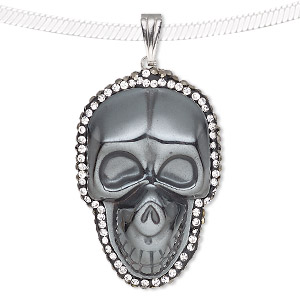 pendant, hemalyke™ (man-made) / glass / epoxy / silver-finished brass, black and clear, 37x25mm single-sided skull. sold individually.