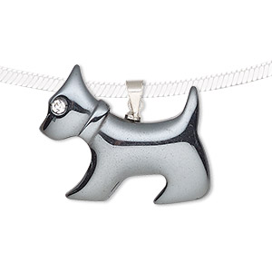 pendant, hemalyke™ (man-made) / glass / silver-finished brass, clear, 28x25mm single-sided dog. sold individually.