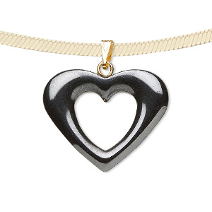 pendant, hemalyke™ (man-made) and gold- and/or silver-finished brass bail, 26x20mm open heart. sold per pkg of 2.