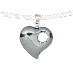pendant, hemalyke™ (man-made) and silver-finished brass, 20mm double-sided heart with cutout circle. sold individually.