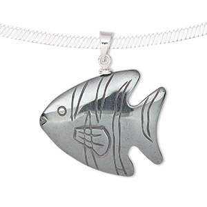 pendant, hemalyke™ (man-made) and silver-finished brass, 31x27mm single-sided fish. sold individually.