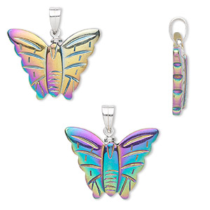 pendant, hemalyke™ (man-made) and silver-plated brass, rainbow coating, 25x20mm butterfly. sold individually.