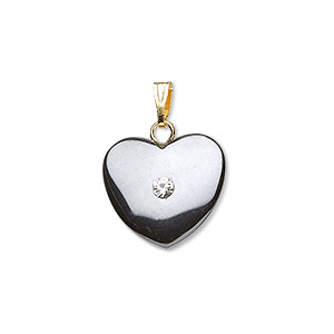 pendant, hemalyke™ (man-made) with rhinestone and gold- and/or silver-finished brass bail, 15x15mm heart. sold per pkg of 4.
