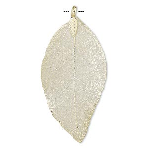 pendant, indian rubber plant and gold-finished brass, 51x33mm-77x51mm leaf. sold individually.