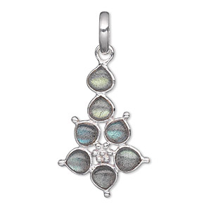 pendant, labradorite (natural) and sterling silver, 29x19mm pear with 5mm pear. sold individually.
