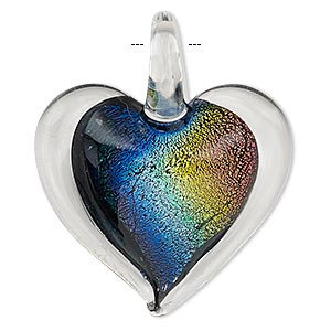 pendant, lampworked and dichroic glass, clear / black / multicolored, 40x35mm single-sided heart. sold individually.